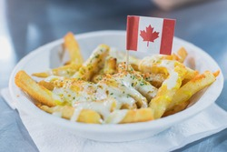Canadian french fries and cheese on top.
