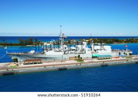 Canadian military ship docked in Nassau (The Bahamas).