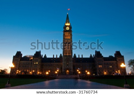 Canadian Parliament at magic hour with a beautiful blue sky