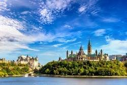 Canadian Parliament in Ottawa and river in a sunny day, Canada