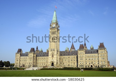 Canadian Parliament Main Building with Peace Tower Ottawa