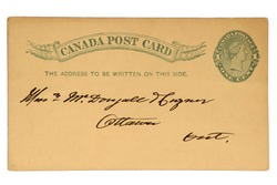 Canadian Post Card with Imprinted One Cent Queen Victoria Stamp, Dated 1890.