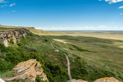 Canadian Prairie at Head-Smashed-In Buffalo Jump world heritage site in Southern Alberta, Canada