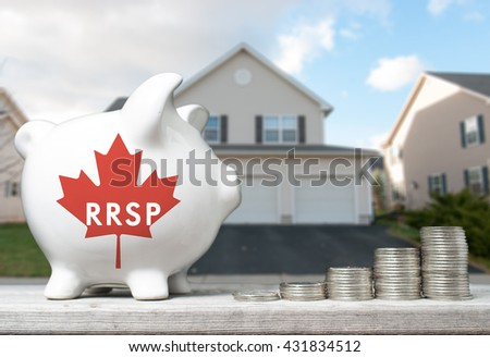 Canadian Registered Retirement Savings Plan concept with piggy bank and coins stacks