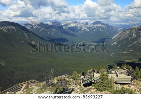 Canadian Rockies viewed from the top of Sulfur Mountain in Banff National park (Canada)