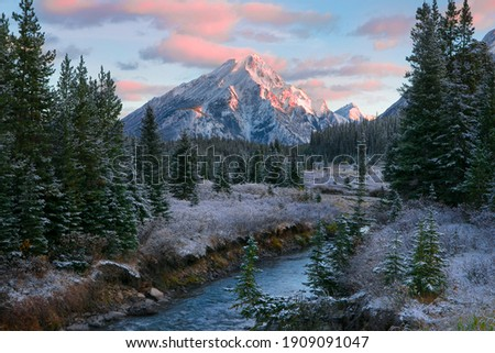 Canadian Rocky Mountain nature scene during a beautiful sunrise with a dusting of overnight snow and frost on the trees and ground.  Photo stock ©
