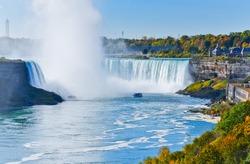 Canadian side of Niagara Falls in autumn