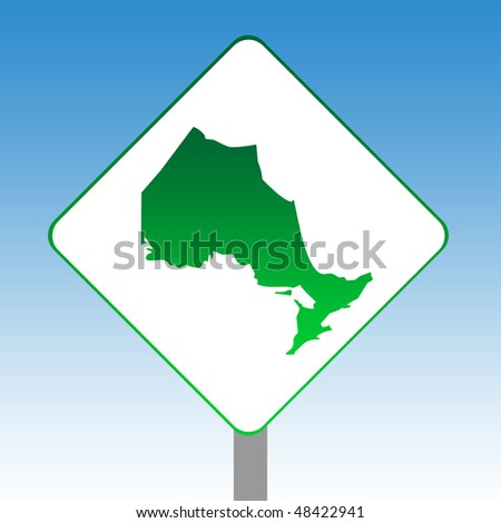 Canadian state of Ontario map road sign in green isolated on white with blue sky background.