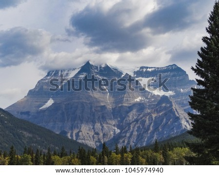 Canadian wilderness with rocky mountains at sunset as seen in banff national park alberta canada #1045974940