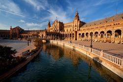 canal and bridge at Plaza de Espana, Sevilla