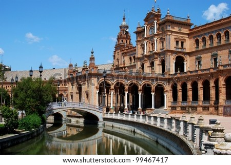 Canal and footbridge in the Plaza de Espana, Seville, Seville Province, Andalusia, Spain, Western Europe.