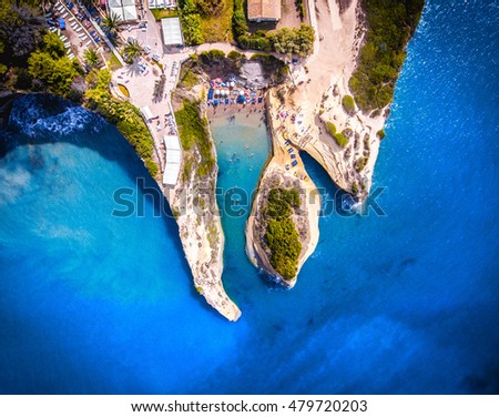 Canal D'amour, Corfu Kerkyra, Greece. The most well known beach on the island, with it's turquoise waters and breathtaking view. Aerial image from a drone.