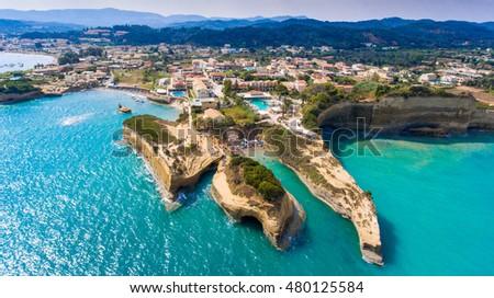 Canal D'Amour panorama in Sidari, Corfu island, Greece. Turquoise water.