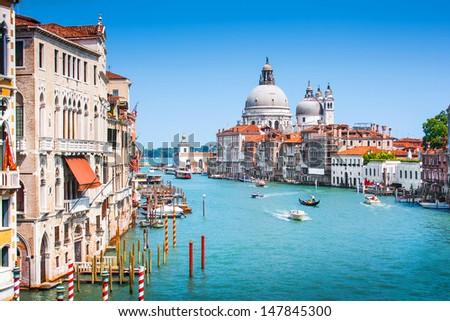 Canal Grande and Basilica di Santa Maria della Salute in Venice Italy