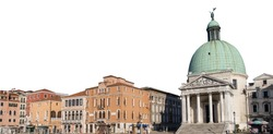 Canal Grande and the church of San Simeone Piccolo (Venice, Italy) isolated on white background