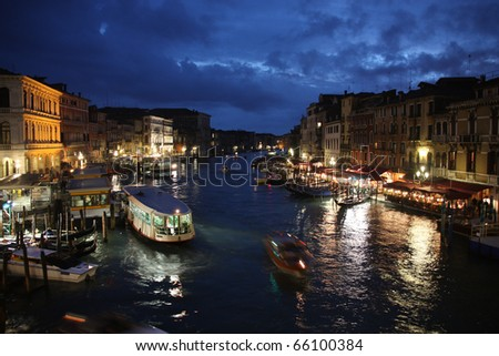 Canal Grande - famous landmark of Venice, Italy. Evening view. - stock photo