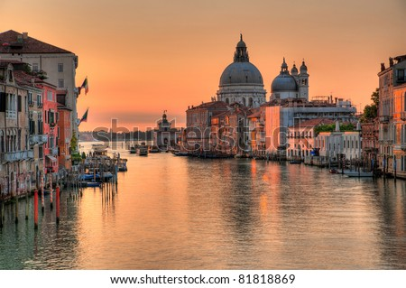Canal grande in venice - Santa Maria Della Salute, Church of Health in dusk twilight at Grand canal Venice Italy