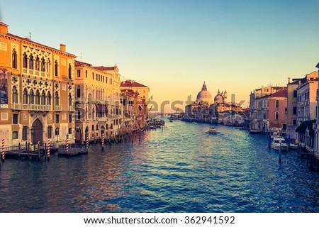 Canal Grande sunset of Accademia's bridge. Venice, Italy.