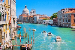 Canal Grande with Basilica di Santa Maria della Salute in the background as seen from Ponte dell Accademia, Venice, Italy