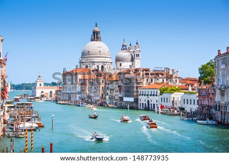 Canal Grande with Basilica di Santa Maria della Salute in Venice, Italy #148773935
