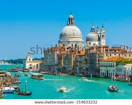 Canal Grande with Basilica di Santa Maria della Salute in Venice, Italy #314833232