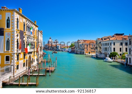 Canal Grande with Basilica Santa Maria della Salute in the background as seen from Ponte dell'Accademia, Venice, Italy