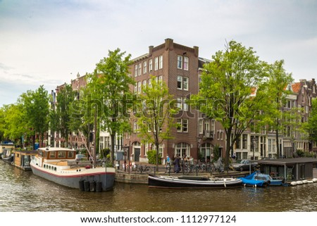 canal in amsterdam in a...