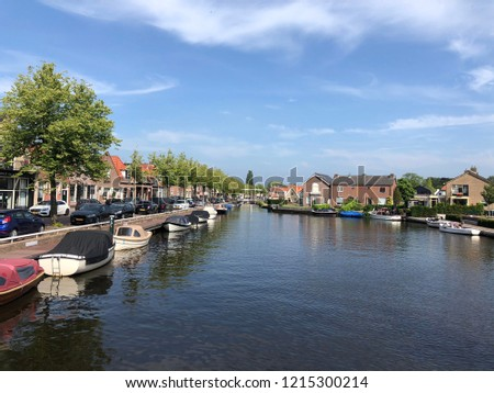 Canal in Joure, Friesland The Netherlands Photo stock ©