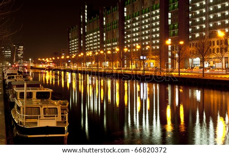 Canal in the Hague by night