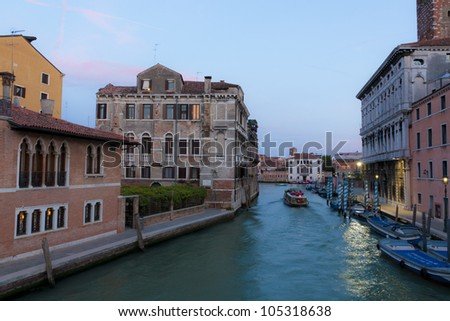 Canal in Venice at night.