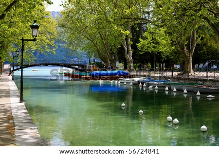 Canal inteh annecy city in the french Alps close to the lake