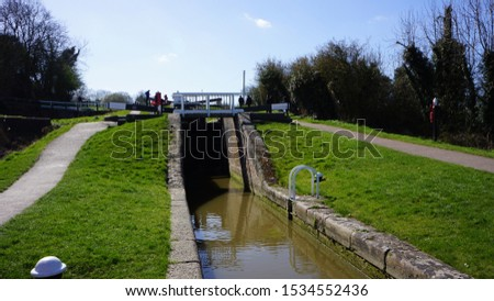 canal locks in English countryside