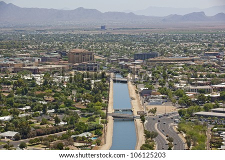 Canal running through downtown Scottsdale, Arizona from above