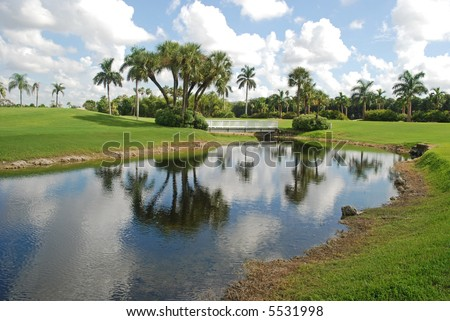 Canal with footbridge, Miami, Florida