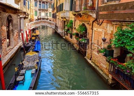 canal with gondola in venice ...