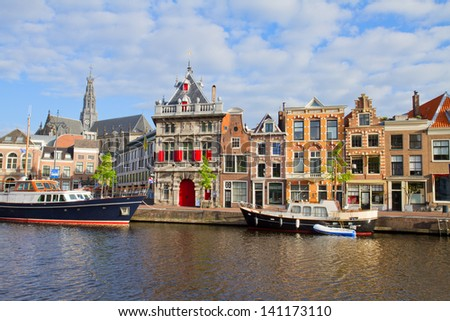 Canal with  historical houses in old Haarlem, Holland
