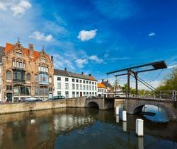 Canal with old bridge. Bruges (Brugge), Belgium