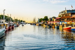 canal with ships and Baltic Sea in Warnemuende, Rostock Germany