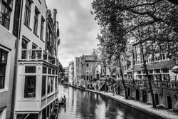 Canals and embankments of Utrecht. Black-white photo.