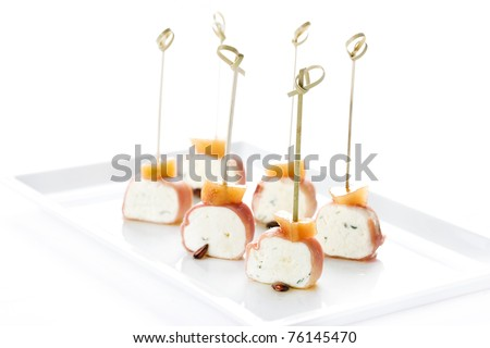 canapés, snacks, meat, cheese, parsley, restaurant, gourmet bacon
