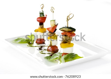 canapés, vegetables, cheese, tomatoes, eggplant, restaurant, cucumbers, Snacks