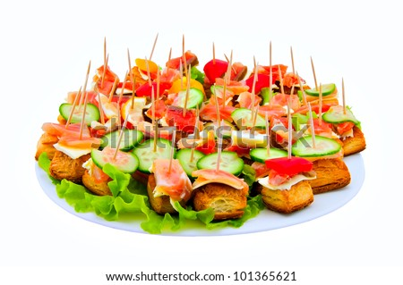 Canape on a dish on a white background
