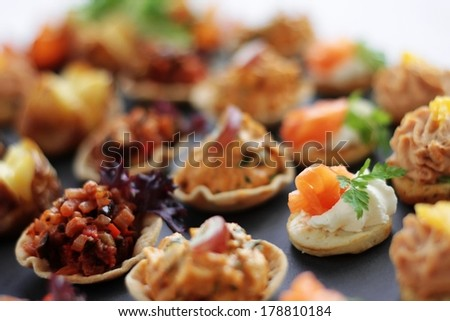 Canape selection on slate platter stock photo 178810184 for Canape serving platters