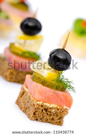 Canape served in the plate