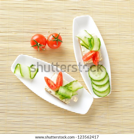 Canapes on plate. Still life. Top view