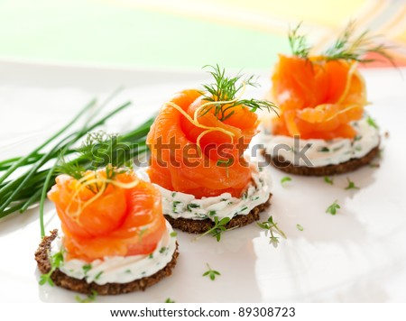 Shutterstock Canapes with smoked salmon and cream cheese