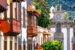 Canary isands travel and landmarks. Teror - most beautiful traditional town of Grand Canary (Gran Canaria).