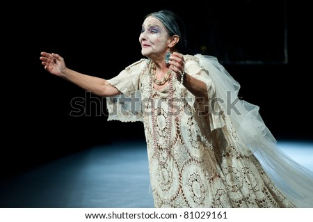 CANARY ISLANDS - JULY 14: Actor from Tribuene Teatro in Madrid, playing La Casa de Bernarda Alba, written by Federico Garcia Lorca, during Festival of Theatre July 14, 2011 in Canary Islands, Spain