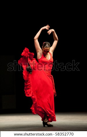 CANARY  ISLANDS - JULY 30: Ballerina Vanesa Vento from Company Antonio Gades from Spain performs Carmen during the Theater, Music and Dance Festival July 30, 2010 in Canary Islands