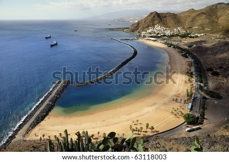 Canary Islands teresitas beach in Tenerife